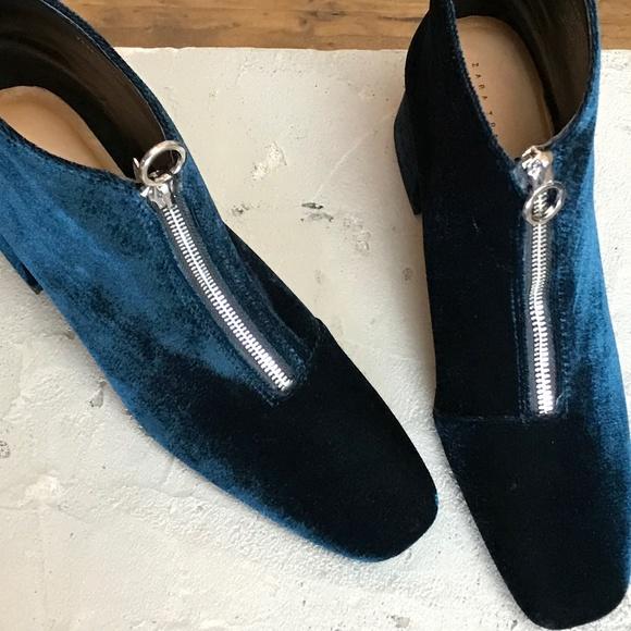 d740e62c628 Zara Shoes | Chunky Velvet High Heel Ankle Boots With Zip | Poshmark